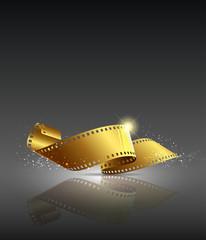 Gold camera film roll, vector