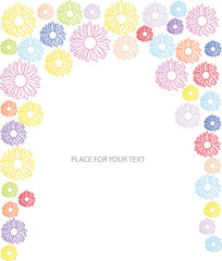 vector frame with color flowers in silhouette and place for text
