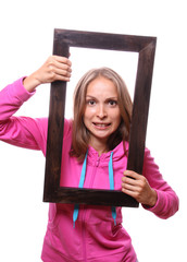 Young Woman Holding Blank Frame