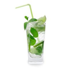 Fresh mojito drink over white background