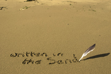 written in the sand with feather quill