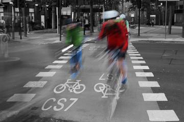 Foto op Canvas Rood, zwart, wit Bicycle Lane C48