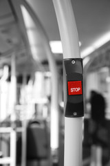 Foto op Canvas Rood, zwart, wit Bus Stop Button