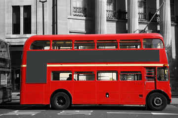 Printed kitchen splashbacks Red, black, white London Route Master Bus