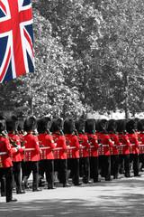 Foto op Canvas Rood, zwart, wit The Queen's Birthday Parade