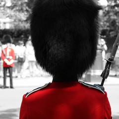Foto op Canvas Rood, zwart, wit Queen's Soldier