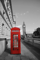 Spoed Fotobehang Rood, zwart, wit Big Ben and Red Phone Booth
