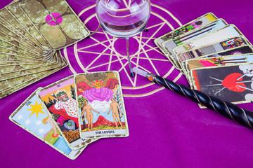 Tarot cards with a magic ball and magic wand (6).