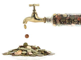 Money coins fall out of the golden tap