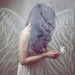 piękna młoda kobieta skrzydła aniołek sukienka panna młoda loki