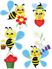 Bees set, vector.