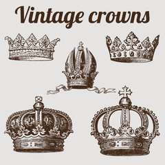 Collection of crowns / vintage vector illustration