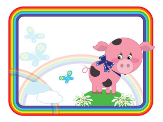 Child background with piggy.