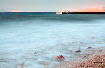 pier in Red Sea at late evening near Aqaba town