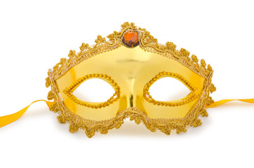 Golden mask isolated on the white