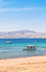 Aqaba gulf and view on Israel town Eilat