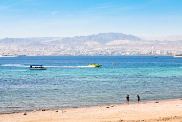 municipal Aqaba beach and view on Eilat town