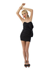 Young stunning blonde girl in black little dress