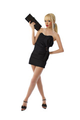 Young stunning blonde lady in black little dress holding a purse