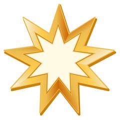 Baha'i Symbol, golden nine pointed star, icon of Baha'i faith