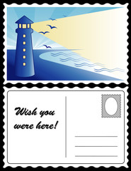 Retro Travel Postcard, lighthouse, beacon, dawn ocean landscape