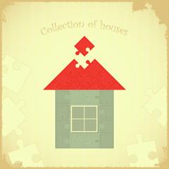 Puzzle house on Grunge background