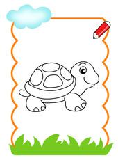 pagina da colorare, tartaruga