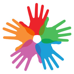 Circle of colorful hand prints, abstract vector illustration