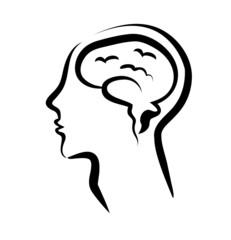 human brain in a silhouette head