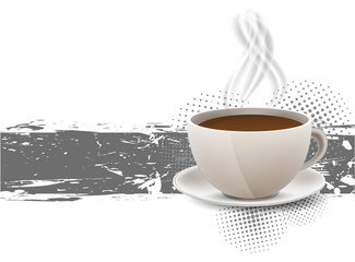 Grunge background with coffe cup