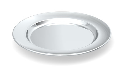 Served on silver platter. Silver plate on white background.