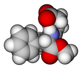 Aspartame space filling molecular model