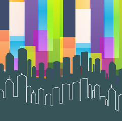 Colorful panorama city vector background