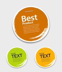 Obraz Colorful label paper circle brush stroke, vector - fototapety do salonu