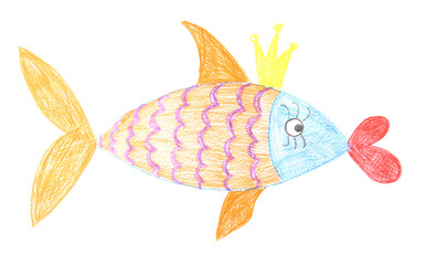 Children's drawing of golden fish