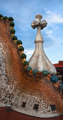 The decorated roof. Casa Batllo. Antonio Gaudi.