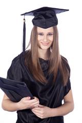 Junge Frau mit High School Abschluss