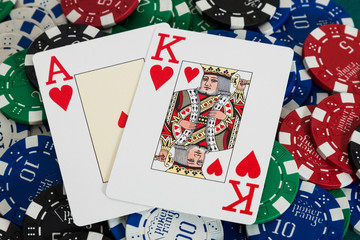 21 cards over casino chips