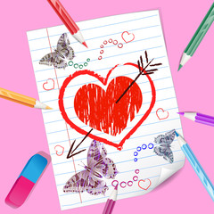 Color pencils with heart drawing