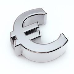 3D Euro symbol isolated on white