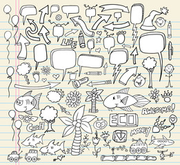 Notebook Doodle Speech Bubble Design Elements Set