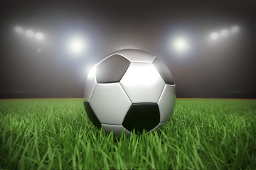 Fussball im Stadion Flutlicht Nachts