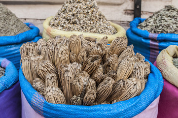 Toothpick sack in Marrakech souk at Morocco
