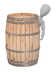 3d render of cartoon character with wooden barrel