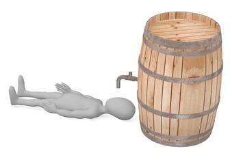 3d render of cartoon character with wooden barrel
