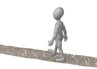 3d render of cartoon character walk on stone way