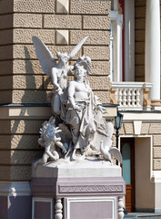 Sculptures at the Odessa Opera and Ballet Theater. Ukraine