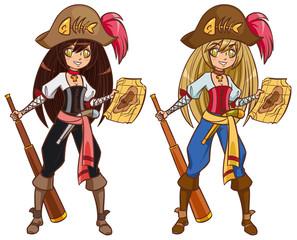 Foto op Plexiglas Piraten Cartoon pirate girl with treasure map and telescope
