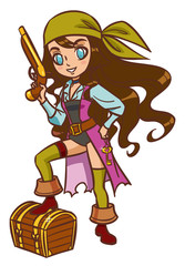 Foto op Plexiglas Piraten Chibi Cartoon pirate girl with powder gun and treasure chest