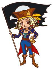 Foto op Plexiglas Piraten Chibi cartoon captain pirate girl with Jolly Roger flag